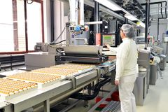stock image of  production of pralines in a factory for the food industry - conveyor belt worker with chocolate