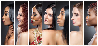 stock image of  profile view collage of multiple women with various skin tones
