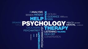 stock image of  psychology therapy help office psychologist psychiatry female therapist advice psychotherapy professional animated word