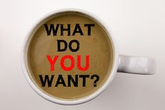 stock image of  question what do you want writing text in coffee in cup. business concept for asking opportunity development questions on white ba