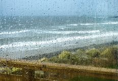 stock image of  rain drops on a window