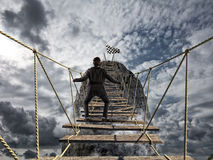 stock image of  reach the success with difficult. achievement business goal and difficult career concept