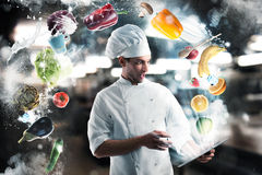 stock image of  recipes on the tablet