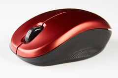stock image of  red optical computer mouse