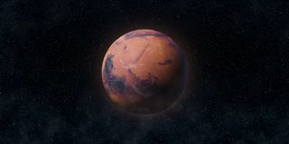 stock image of  red planet mars. astronomy and science concept. elements of this image furnished by nasa