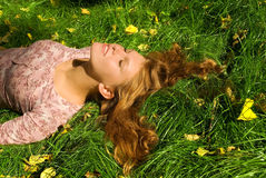 stock image of  relaxation on the grass