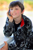 stock image of  relaxed kid talking