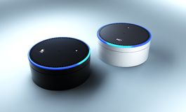 stock image of  3d rendering of amazon echo voice recognition system