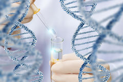 stock image of  research over dna molecule structure.