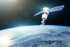 stock image of  research, probing, monitoring of in atmosphere. communications satellite in orbit above the surface of the planet earth. elements