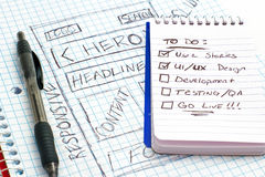 stock image of  responsive web design sketch todo list