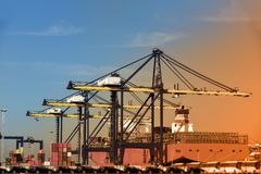 stock image of  retro logistics import export background of container cargo ship