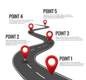 stock image of  road infographic. curved road timeline with red pins checkpoint. strategy journey highway with milestones concept