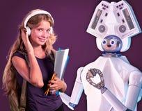 stock image of  robot teacher for kid. white plastic ai robotic device.