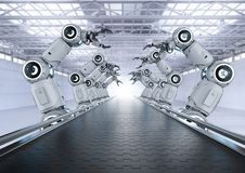 stock image of  robot assembly line