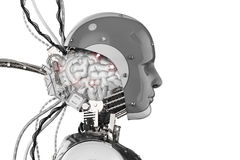 stock image of  robot with brain and wires