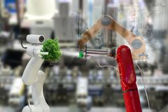 stock image of  robot plant a tree environmental industrial tree in the arm future
