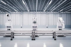 stock image of  robotic arm with conveyor line