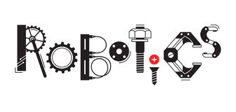 stock image of  robotics word. the inscription and letters are stylized in the form of details of robots and mechanisms.