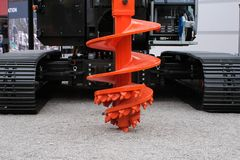 stock image of  rock auger drilling equipment for construction industry, piling machinery, piling rig.