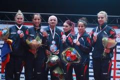 stock image of  romania girl`s team european champion 2017