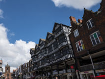 stock image of  the rows are tudor black and white buildings in chester the county city of cheshire in england