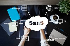 stock image of  saas, software as a service. internet and networking concept.
