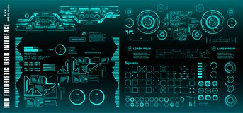 stock image of  sci-fi futuristic hud dashboard display virtual reality technology screen, target