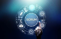 stock image of  scrum, agile development methodology, programming and application design technology concept on virtual screen.
