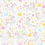 stock image of  seamless pattern with cute unicorns and colorful flowers on white background. vector illustration