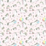 stock image of  seamless pattern of hand-drawn cartoon magical unicorns with diamonds, hearts, balloons, flowers, stars, crowns. vector image for