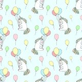 stock image of  seamless pattern of hand-drawn cartoony smiling unicorns with balloons. vector background image for holiday, baby shower, prints,