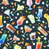 imagine stock despre  vectorul model cu tropicale alcool băuturi şi băuturi restaurantul negru fundal
