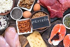 stock image of  selection food sources of protein. healthy diet eating concep