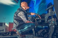stock image of  semi truck maintenance