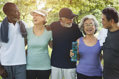 stock image of  senior group friends exercise relax concept