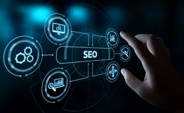 stock image of  seo search engine optimization marketing ranking traffic website internet business technology concept