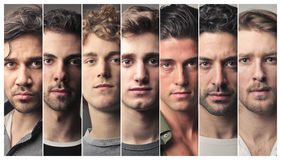 stock image of  series of men faces