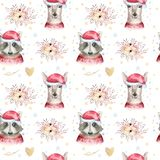 stock image of  set of christmas woodland cute forest cartoon deer and cute raccoon animal character. winter set of new year floral