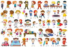 stock image of  set of doodle kids character