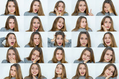 stock image of  set of emotions beautiful girl`s portraits