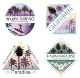stock image of  set of exotic nature landscapes with palms for t-shirt.