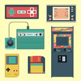 stock image of  set of geek gaming retro gadgets from the nineties. old game entertainment devices of the 90s. electronics from the 20th century
