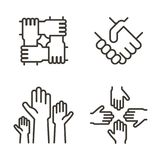 stock image of  set of hand icons representing partnership, community, charity, teamwork, business, friendship and celebration. vector icon