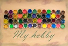 stock image of  a set of materials for creativity and drawing hobbies.