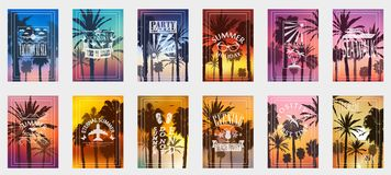 stock image of  a set of 12 options for posters with palm trees. for all occasions to relax. for advertising, sales, discounts, super offers.