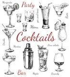 imagine stock despre  stabilit schita cocktailuri şi alcool băuturi mână trase ilustrare