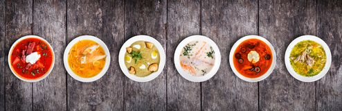 stock image of  set of soups from worldwide cuisines, healthy food.