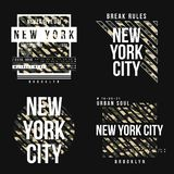 stock image of  set of t-shirt design in military army style with camouflage texture. new york city typography with slogan