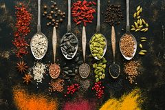 stock image of  a set of varied seeds and spices in spoons on a dark background. top view, flat lay. multicolored spices